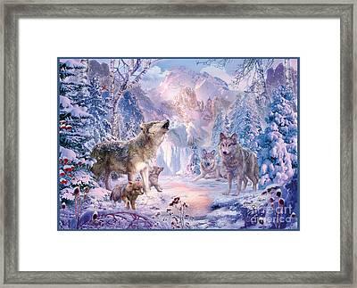 Snow Landscape Wolves Framed Print by Jan Patrik Krasny