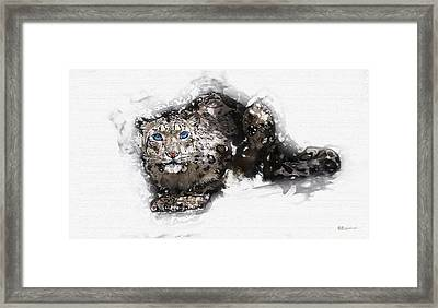 Snow Leopard - The Blue-eyed Ghost Of Qomolangma Framed Print by Serge Averbukh