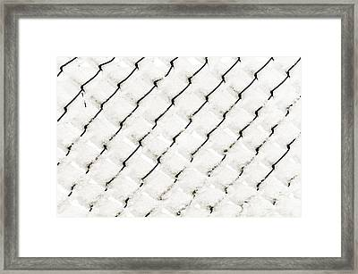 Snow Link Fence Framed Print by Andee Design