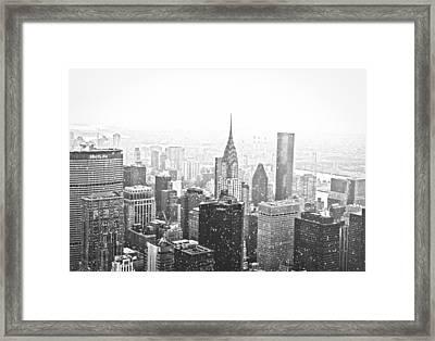 Snow - New York City Skyline Framed Print by Vivienne Gucwa