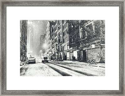 Snow - New York City - Winter Night Framed Print by Vivienne Gucwa
