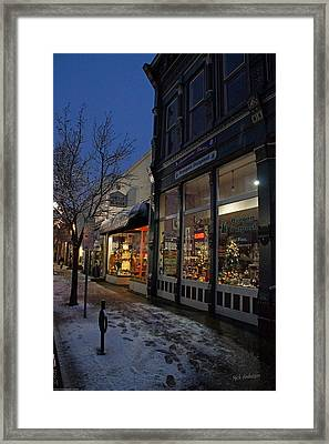 Snow On G Street - Old Town Grants Pass Framed Print by Mick Anderson