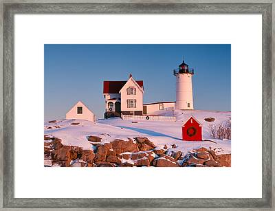 Snow On Nubble Light Framed Print by Michael Blanchette