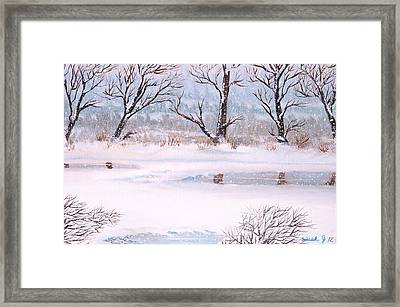 Snow On The Ema River  Framed Print by Misuk Jenkins