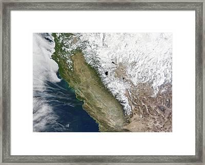 Snow On The Sierra Nevada Framed Print by Nasa