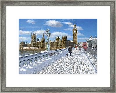 Snow On Westminster Bridge Framed Print by Richard Harpum