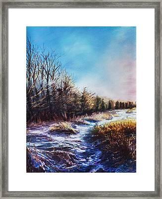 Snow Path Framed Print by Bob Northway