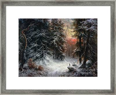 Snow Scene In The Black Forest Framed Print by Carl Friedrich Wilhelm Trautschold