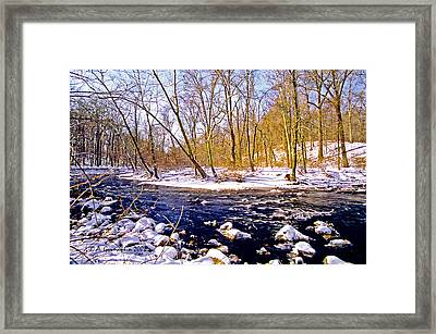 Framed Print featuring the photograph Snow Scene Pennsylvania Woodland Stream by A Gurmankin
