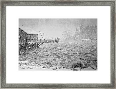 Snow Storm In Bass Harbor On Mount Desert Island Maine Framed Print by Keith Webber Jr