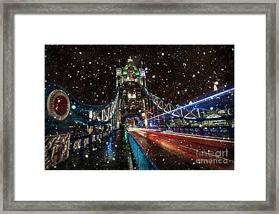 Snow Storm Tower Bridge Framed Print by Donald Davis