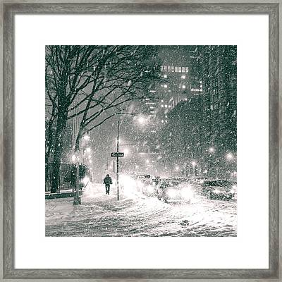 Snow Swirls At Night In New York City Framed Print by Vivienne Gucwa
