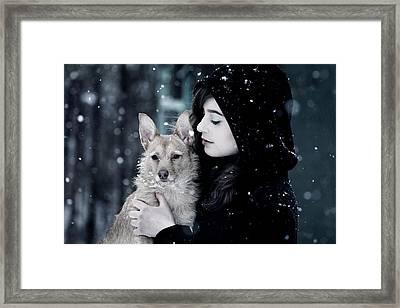 Snow Walk Framed Print by Wojciech Zwolinski