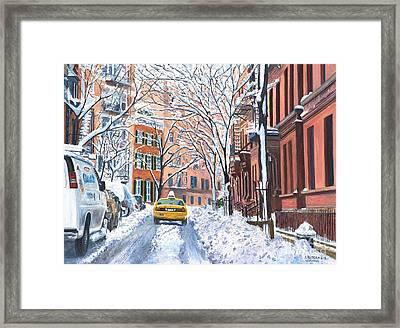 Snow West Village New York City Framed Print by Anthony Butera