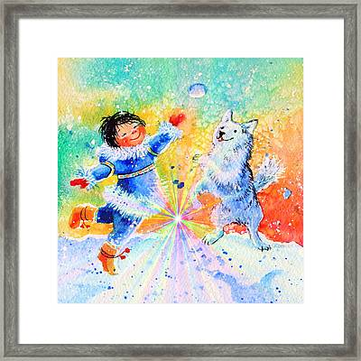 Snowball Fun Framed Print by Hanne Lore Koehler