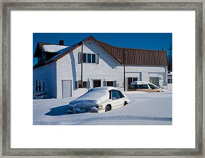 Snowbound Cars In Michigan's Upper Peninsula Framed Print by Randall Nyhof