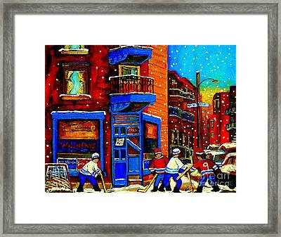 Snowday Hockey Practice Wilenskys Corner Fairmount And Clark Montreal City Scene Carole Spandau Framed Print by Carole Spandau