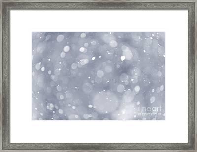 Snowfall Background Framed Print by Elena Elisseeva
