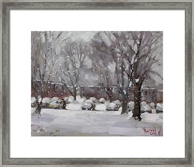 Snowfall In Royal Park Apartments Framed Print by Ylli Haruni