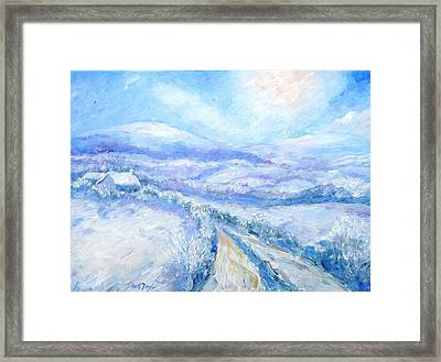 Snowfall On The Laneway  Framed Print by Trudi Doyle