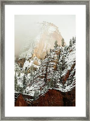 Snowfall Zion National Park Utah Framed Print by Robert Ford