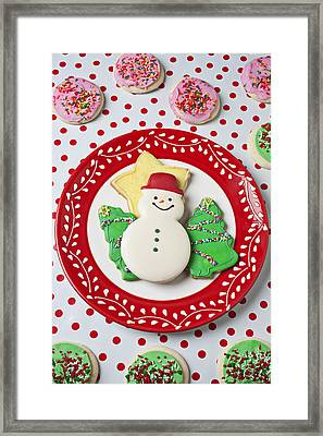 Snowman Cookie Plate Framed Print by Garry Gay