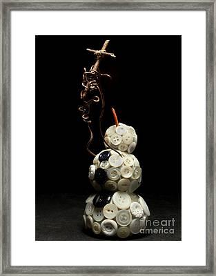 Snowman Holding Christian Cross Christmas Card Framed Print by Adam Long
