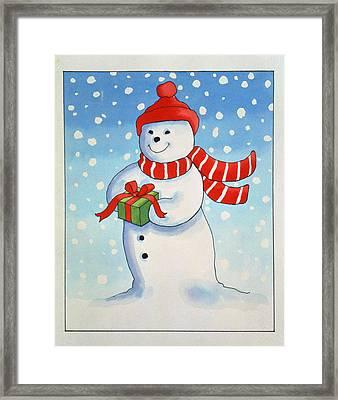 Snowmans Christmas Present Framed Print by Lavinia Hamer