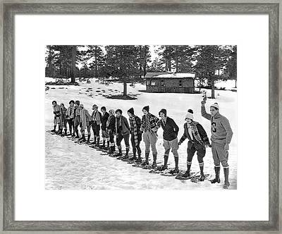 Snowshoe Race In The Mountains Framed Print by Underwood Archives