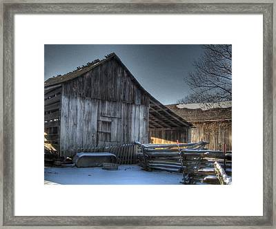 Snowy Barn Framed Print by Jane Linders