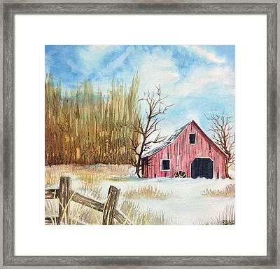 Snowy Barn Framed Print by Rebecca Davis