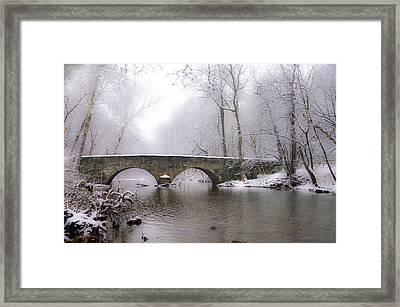 Snowy Bells Mill Road Bridge Framed Print by Bill Cannon