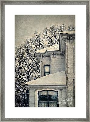 Snowy Brick House Framed Print by Jill Battaglia