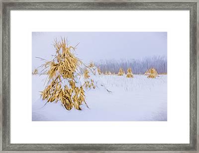 Snowy Corn Shocks - Artistic Framed Print by Chris Bordeleau