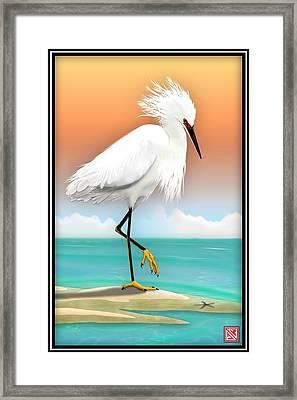 Snowy Egret White Heron On Beach Framed Print by John Wills