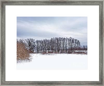 Snowy Farm Framed Print by HD Connelly