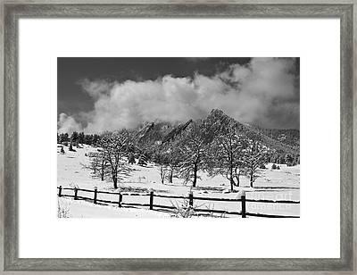 Snowy Flatirons Boulder Colorado Landscape View Bw Framed Print by James BO  Insogna