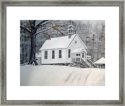 Snowy Gates Chapel  -little White Church - Ellijay Framed Print by Jan Dappen