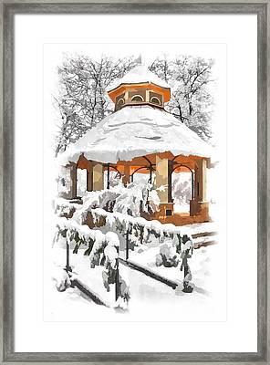 Snowy Gazebo - Greensboro North Carolina II Framed Print by Dan Carmichael