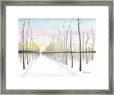 Snowy Lane Framed Print by Arlene Crafton
