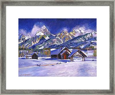 Snowy Log Cabin Framed Print by David Lloyd Glover