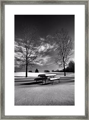 Snowy Morning In Black And White Framed Print by Dan Sproul