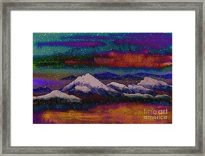 Snowy Mountains On A Colorful Winter Night Framed Print by Beverly Claire Kaiya