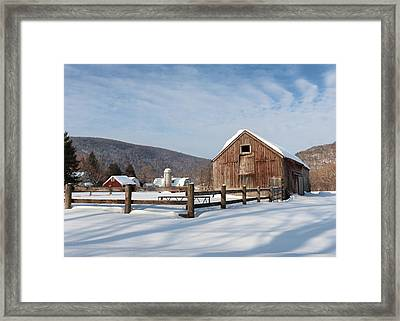Snowy New England Barns Framed Print by Bill Wakeley