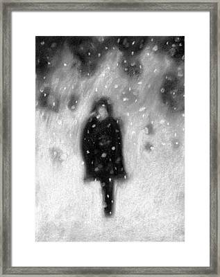 Snowy Night Framed Print by Angie Brown