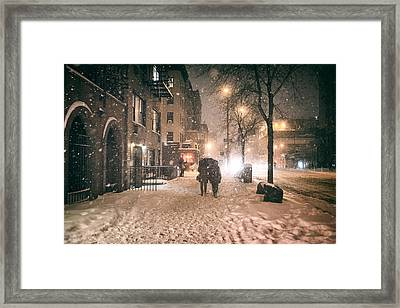 Snowy Night - Winter In New York City Framed Print by Vivienne Gucwa