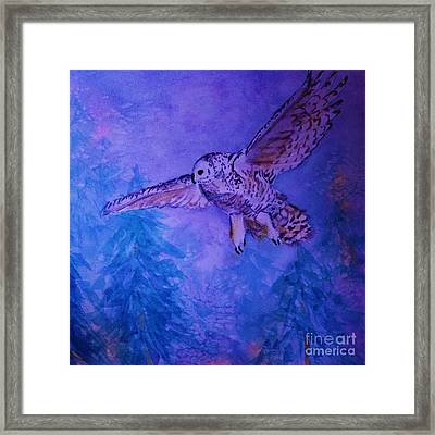 Snowy Owl  - Juvenille - Close Cropped Framed Print by Ellen Levinson