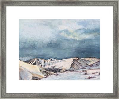 Snowy Peaks Framed Print by Abbie Groves