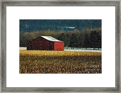 Snowy Red Barn In Winter Framed Print by Lois Bryan