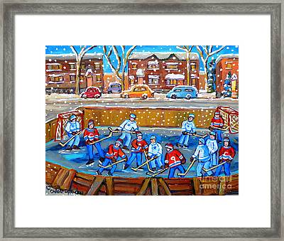 Snowy Rink Hockey Game Montreal Memories Winter Street Scene Painting Carole Spandau Framed Print by Carole Spandau